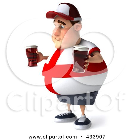 Royalty-Free (RF) Clipart Illustration of a 3d Fat English Man Facing Left And Holding Beer by Julos