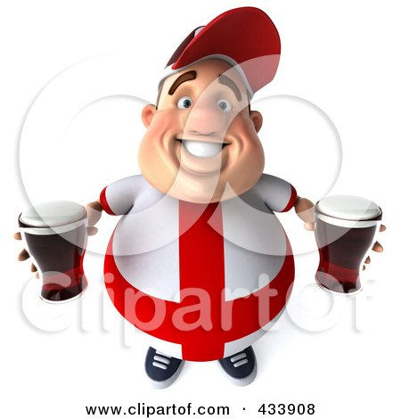 Royalty-Free (RF) Clipart Illustration of a 3d Fat English Man Looking Up And Holding Beer by Julos
