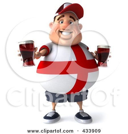 Royalty-Free (RF) Clipart Illustration of a 3d Fat English Man Facing Front And Holding Up Beer by Julos