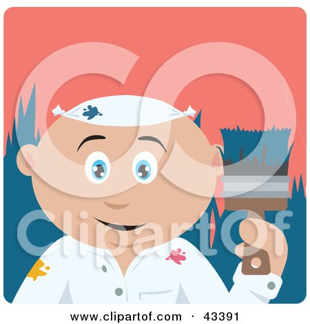 Clipart Illustration of a Caucasian House Painter Man Holding A Brush by Dennis Holmes Designs