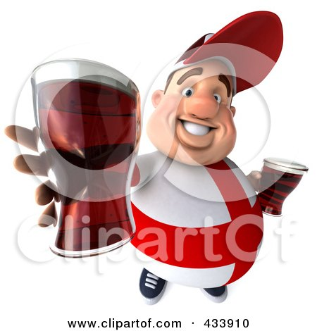 Royalty-Free (RF) Clipart Illustration of a 3d Fat English Man Holding Out Beer by Julos
