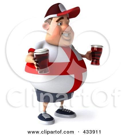 Royalty-Free (RF) Clipart Illustration of a 3d Fat English Man Facing Right And Holding Beer by Julos