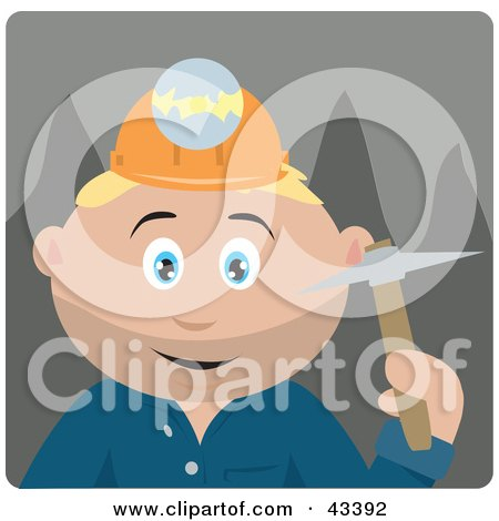 Clipart Illustration of a Caucasian Miner Man Wearing A Headlamp And Holding A Pickaxe by Dennis Holmes Designs