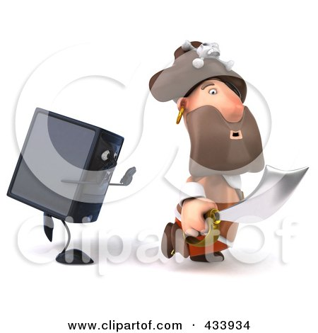 Royalty-Free (RF) Clipart Illustration of a 3d Pirate Running From A Computer Tower by Julos