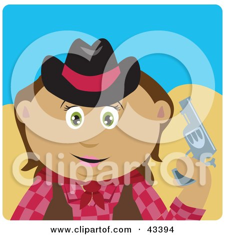 Clipart Illustration of a Latin American Cowgirl Holding Up A Pistil by Dennis Holmes Designs