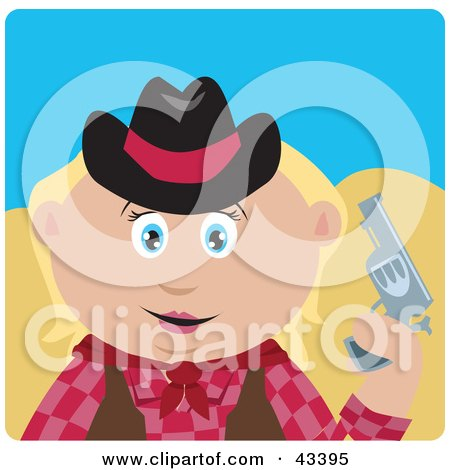 Clipart Illustration of a Caucasian Cowgirl Holding Up A Pistil by Dennis Holmes Designs