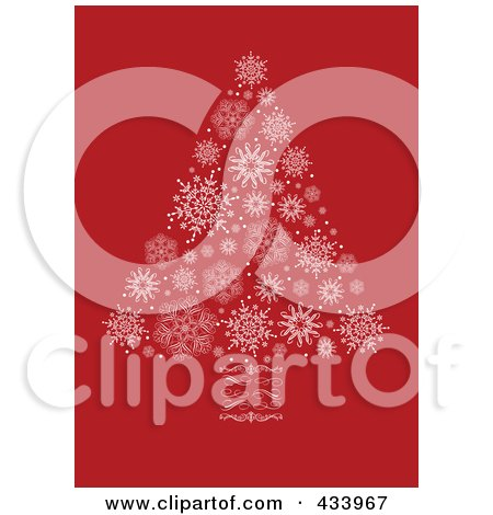 Royalty-Free (RF) Clipart Illustration of a White Snowflake Christmas Tree With A Swirl Trunk On Red by BestVector