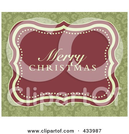 Royalty-Free (RF) Clipart Illustration of a Merry Christmas Greeting In A Red Frame Over An Ornate Green Background by BestVector