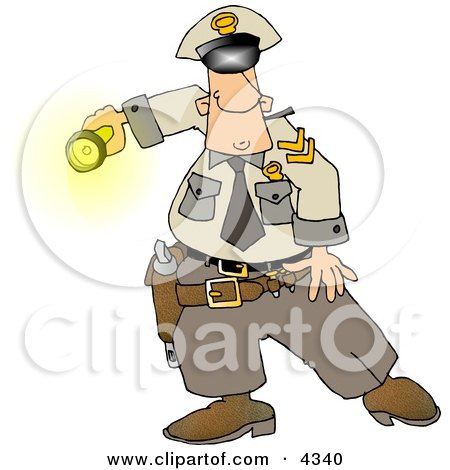 Graveyard Shift Police Officer Shinning His Flashlight At Something Clipart