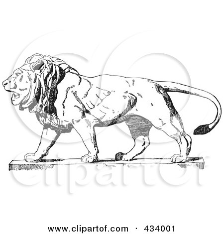 Royalty-Free (RF) Clipart Illustration of a Vintage Black And White Lion Sketch - 2 by BestVector