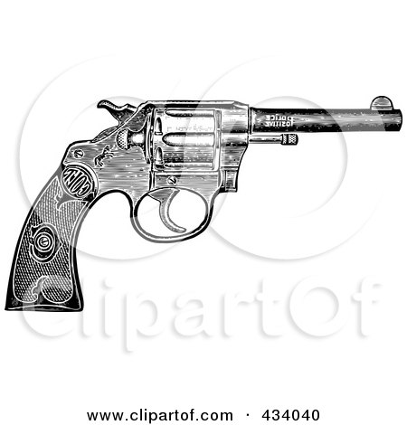 Royalty-Free (RF) Clipart Illustration of a Vintage Black And White Revolver Sketch by BestVector