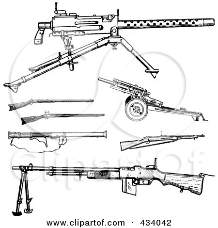 Royalty-Free (RF) Clipart Illustration of a Digital Collage of Vintage Black And White War Gun Sketches by BestVector