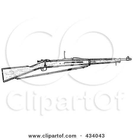 Royalty-Free (RF) Clipart Illustration of a Vintage Black And White War Gun Sketch - 6 by BestVector