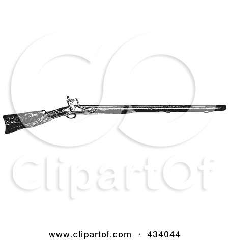 Royalty-Free (RF) Clipart Illustration of a Vintage Black And White War Gun Sketch - 4 by BestVector