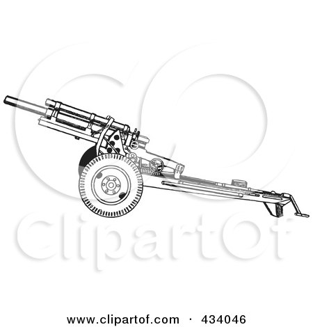 Royalty-Free (RF) Clipart Illustration of a Vintage Black And White War Gun Sketch - 2 by BestVector
