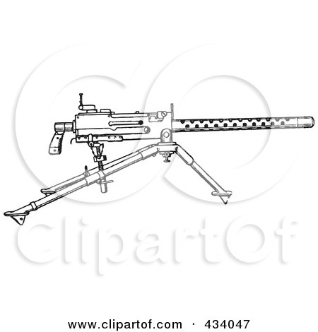 Royalty-Free (RF) Clipart Illustration of a Vintage Black And White War Gun Sketch - 1 by BestVector