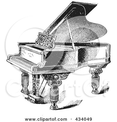 Royalty-Free (RF) Clipart Illustration of a Vintage Black And White Grand Piano Sketch - 2 by BestVector