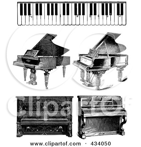Royalty-Free (RF) Clipart Illustration of a Digital Collage of Vintage Black And White Piano Sketches by BestVector
