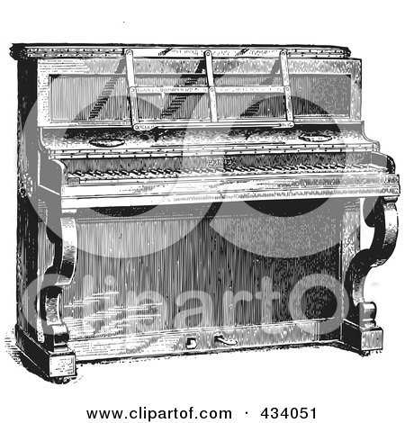 Royalty-Free (RF) Clipart Illustration of a Vintage Black And White Upright Piano Sketch - 2 by BestVector