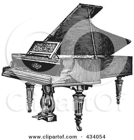 Royalty-Free (RF) Clipart Illustration of a Vintage Black And White Grand Piano Sketch - 1 by BestVector