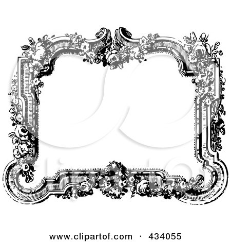 Vintage black and white victorian border frame with flowers posters art prints