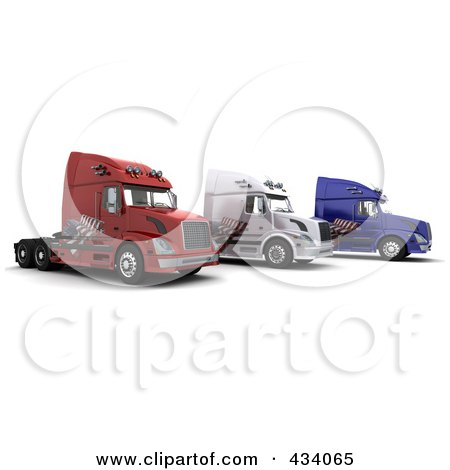 Royalty-Free (RF) Clipart Illustration of 3d Big Rig Trucks With An American Flag Decals by KJ Pargeter