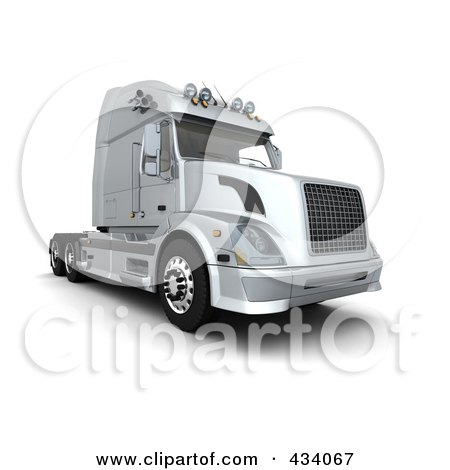 Royalty-Free (RF) Clipart Illustration of a 3d Silver Semi Truck by KJ Pargeter