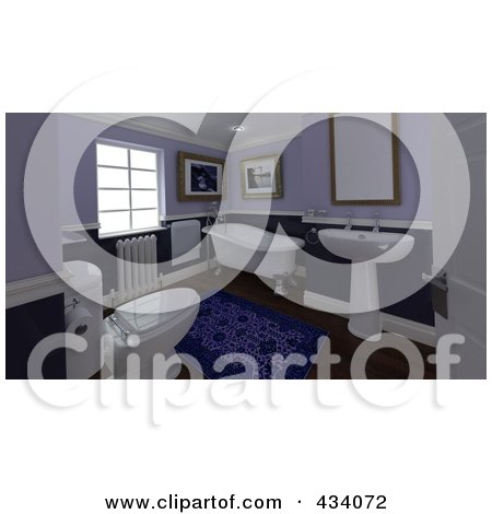 Royalty-Free (RF) Clipart Illustration of a 3d Classic Bathroom Interior by KJ Pargeter