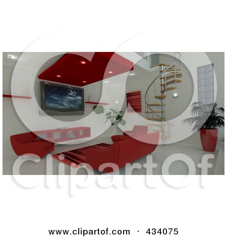 Royalty-Free (RF) Clipart Illustration of a 3d Interior Of Red Furniture And A Spiral Staircase by KJ Pargeter