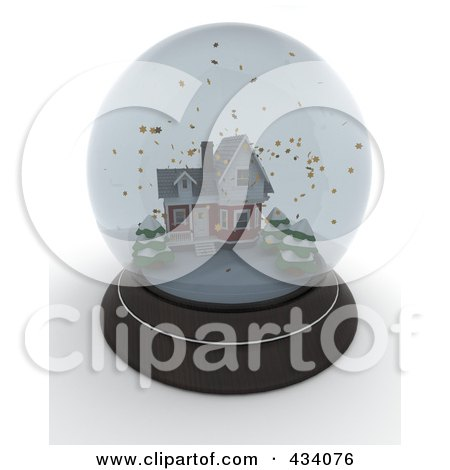 Royalty-Free (RF) Clipart Illustration of a 3d Snow Globe With A Winter House Inside by KJ Pargeter