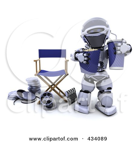 Royalty-Free (RF) Clipart Illustration of a 3d Robot With Popcorn And Soda Near A Director's Chair by KJ Pargeter