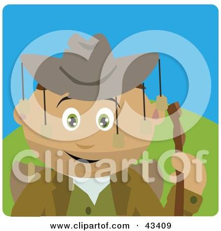 Clipart Illustration of a Latin American Boy Wearing An Aussie Hat And Hiking by Dennis Holmes Designs