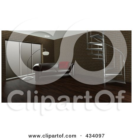Royalty-Free (RF) Clipart Illustration of a 3d Interior Of A Leather Couch And Lamp Near A Spiral Staircase by KJ Pargeter