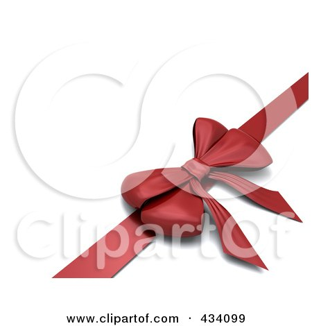 Royalty-Free (RF) Clipart Illustration of a 3d Red Gift Bow And Ribbon by KJ Pargeter