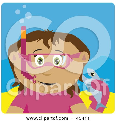 Clipart Illustration of a Latin American Girl Snorkeling And Holding A Fish by Dennis Holmes Designs