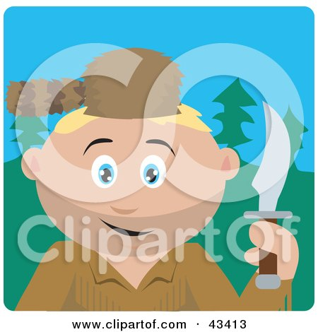 Clipart Illustration of a Caucasian Frontiersman Holding A Knife And Wearing A Coon Skin Hat by Dennis Holmes Designs