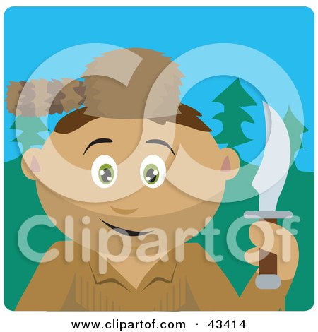Clipart Illustration of a Latin American Frontiersman Holding A Knife And Wearing A Coon Skin Hat by Dennis Holmes Designs