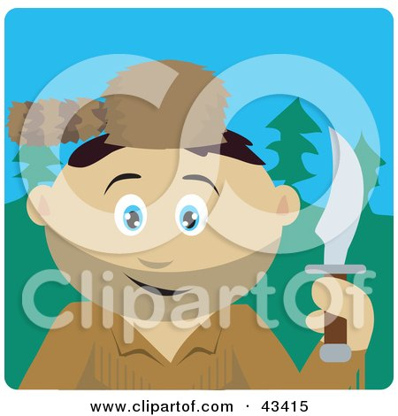 Clipart Illustration of a Mexican Frontiersman Holding A Knife And Wearing A Coon Skin Hat by Dennis Holmes Designs