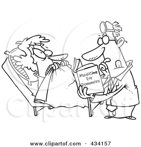 Royalty-Free (RF) Clipart Illustration of Line Art of a Cartoon Psychiatrist Reading A Dummy Book To Help A Patient by toonaday