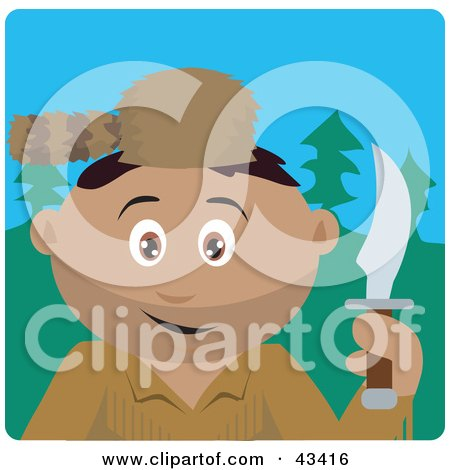 Clipart Illustration of a Hispanic Frontiersman Holding A Knife And Wearing A Coon Skin Hat by Dennis Holmes Designs