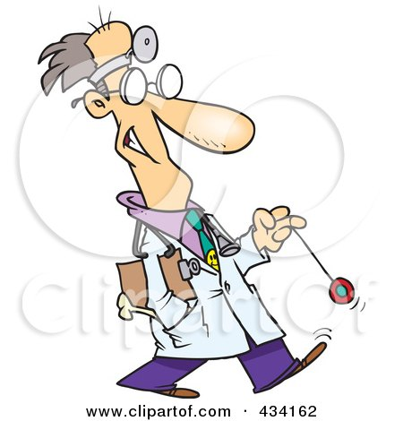Royalty-Free (RF) Clipart Illustration of a Cartoon Psychiatrist Playing With A Yo Yo by toonaday
