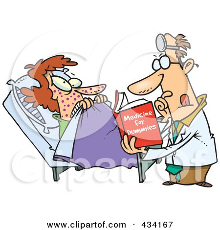 Royalty-Free (RF) Clipart Illustration of a Cartoon Psychiatrist Reading A Dummy Book To Help A Patient by toonaday