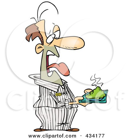 Disgusted Cartoon Male Prisoner Holding A Plate Of Green Food Posters, Art Prints
