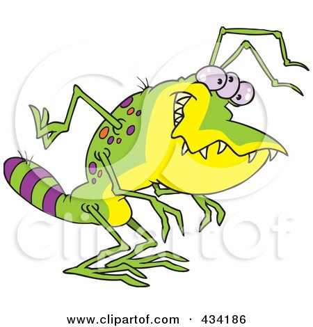 Royalty-Free (RF) Clipart Illustration of a Creepy Green Alien With A Striped Tail by toonaday