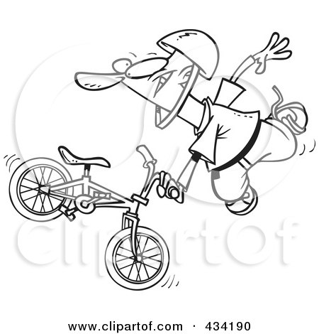 Royalty-Free (RF) Clipart Illustration of Line Art of an Extreme Bmx Biker Doing A Trick by toonaday
