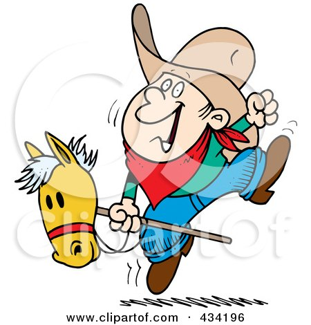 Royalty-Free (RF) Clipart Illustration of a Cartoon Boy Riding A Stick Pony by toonaday