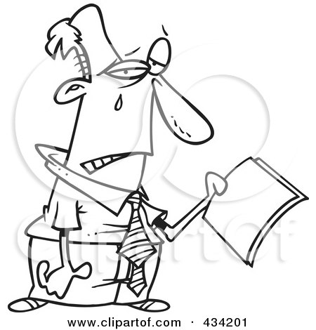 Royalty-Free (RF) Clipart Illustration of Line Art of a Businessman Crying Over Year End Reports by toonaday
