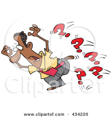 Royalty-Free (RF) Clipart Illustration of a Cartoon Black Businessman Running From Questions by toonaday
