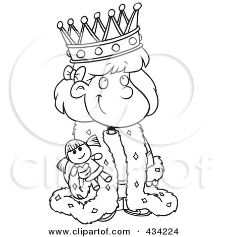 Royalty-Free (RF) Clipart Illustration of Line Art of a Cartoon Queen Girl Holding A Doll by toonaday