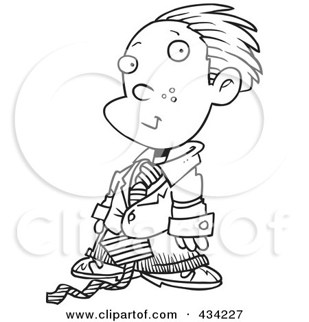 Royalty-Free (RF) Clipart Illustration of Line Art of a Cartoon Business Executive Boy Using A Magnifying Glass by toonaday